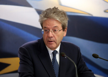 epa08196995 European Commissioner for Economy Paolo Gentiloni addresses the media for statements following his meeting with Greek Finance Minister Staikouras in Athens, Greece, 06 February 2020. Gentiloni is in Athens on a working visit.  EPA-EFE/ORESTIS PANAGIOTOU
