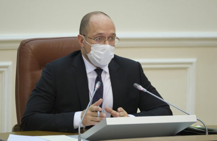 Prime Minister Denys Shmygal attends the Cabinet of Ministers emergency session in Kyiv on May 4, 2020.