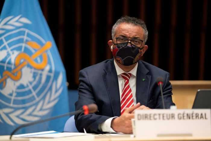 FILE PHOTO: Tedros Adhanom Ghebreyesus, Director General of the World Health Organization (WHO) attends a session on the coronavirus disease (COVID-19) outbreak response of the WHO Executive Board in Geneva, Switzerland, October 5, 2020.  Christopher Black/WHO/Handout via REUTERS