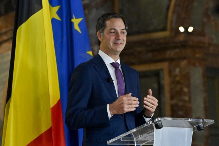 Open Vld's Alexander De Croo pictured at a press conference of the co-formators after they reached an agreement for a Vivaldi government after a last night of negotiatons in Brussels, Wednesday 30 September 2020, regarding the formation of a new government after the federal elections of 26 May 2019. De Croo will be Prime Minister of the Vivaldi government which will take the oath tomorrow. BELGA PHOTO DIRK WAEM