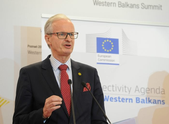 Director General Christian Danielsson speaks at a press conference during the Western Balkans Summit in Poznan on July 4, 2019