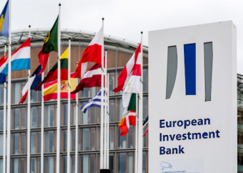 Flags of European Union (EU) member state fly outside the European Investment Bank in Luxembourg, on Monday, July 15, 2019. Brexit has made Luxembourg a favorite EU hub for insurers, funds and asset managers to relocate to from the U.K. Moves include those by insurance giant American International Group Inc., private-equity firm Blackstone, RSA Insurance Group Plc, U.S. insurer FM Global, Lloyd's of London insurer Hiscox Plc and asset manager M&G Investments. Photographer: Geert Vanden Wijngaert/Bloomberg via Getty Images